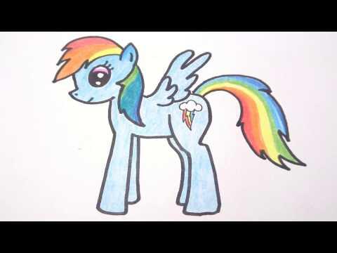 โพนี่ เรนโบว์แดช (Rainbow Dash) สอนวาดรูปการ์ตูนน่ารักง่ายๆระบายสี