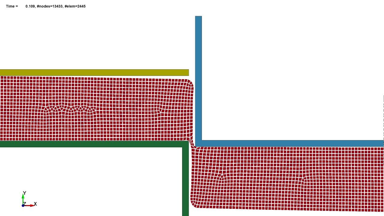 LS-DYNA 2D R-Adaptive Implicit FEM: Metal Shearing Simulation (adaptive  mesh)