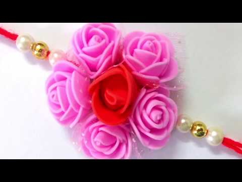 Easy Foam rose rakhi making at home, Rakhi Making Idea For Raksha Bandhan, Raksha Bandhan 2019