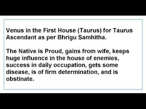 Venus in the First House for Taurus Ascendant as per Bhrigu