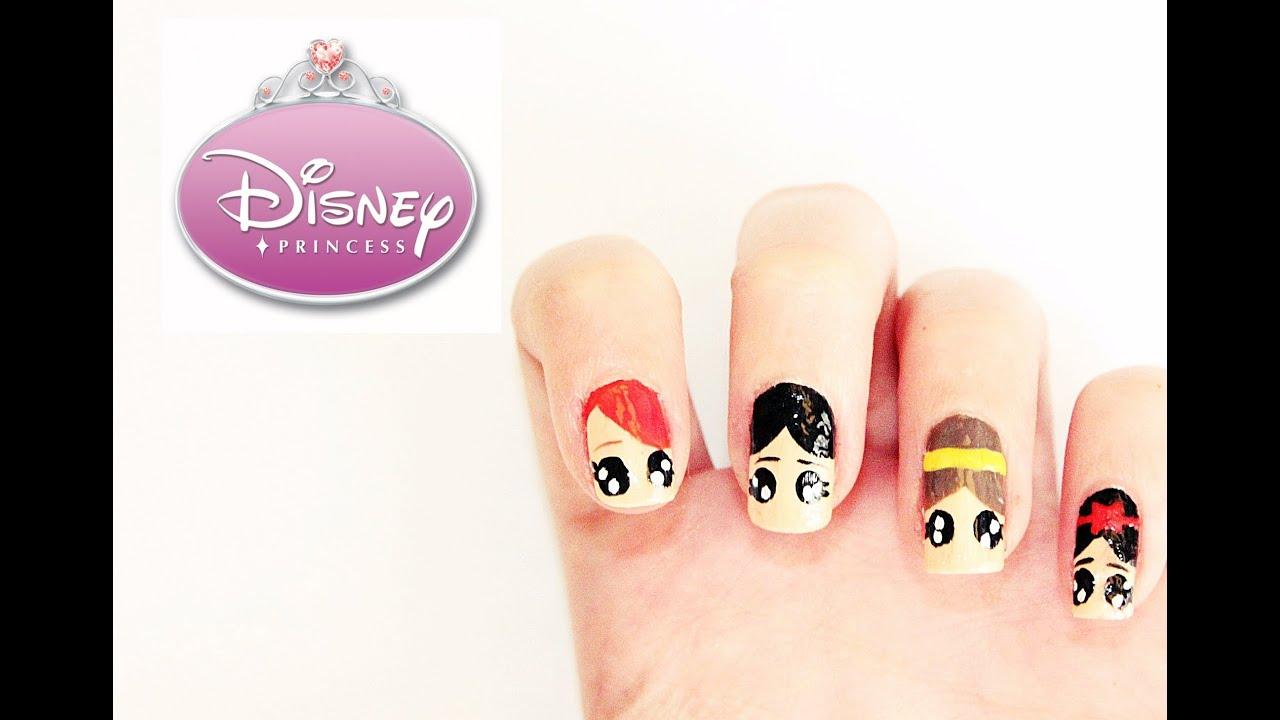 Uñas de las Princesas Disney - Disney Princess Nai - YouTube