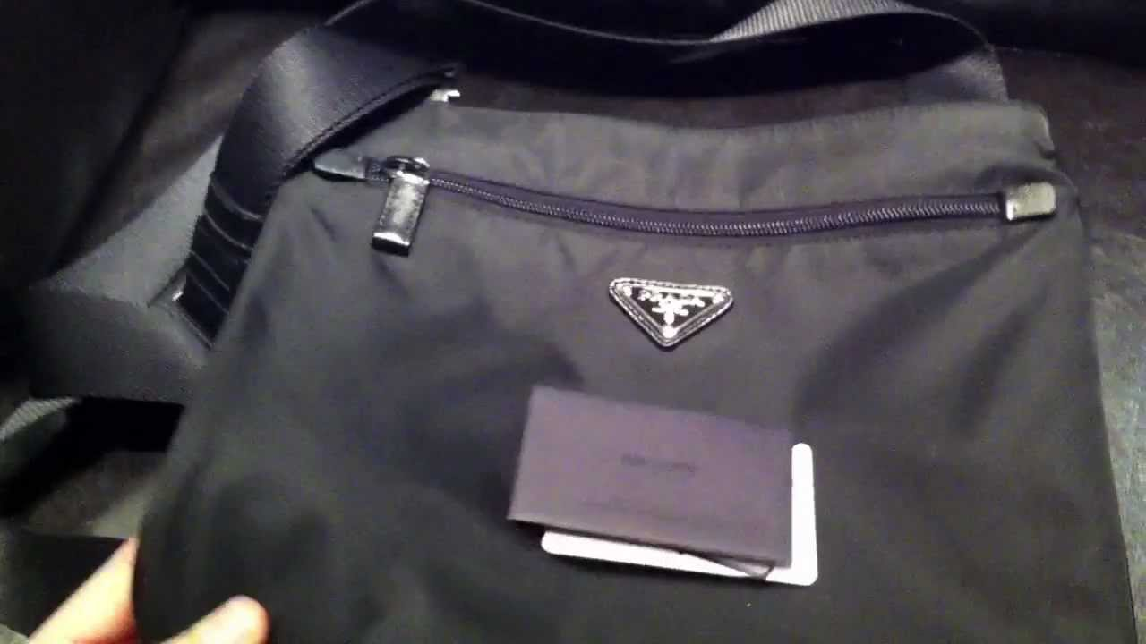 553769553b Prada Black Nylon Messenger Bag review HD Authentic - YouTube