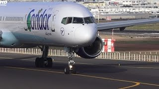 d aboi condor boeing 757 300 line up and takeoff ace lanzarote full hd