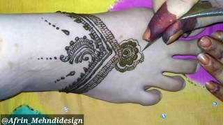 Eid special feet Mehndi #4 Design 2018  | Leg Henna Simple and Easy DIY #Afrin_Mehndidesign
