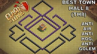 BEST TOWN HALL 8(TH8)WAR BASE DEFENSE! ANTI AIR,  HOG, GOLEM  ATTACKS NEVER SEEN BEFORE!COC NEW 2016
