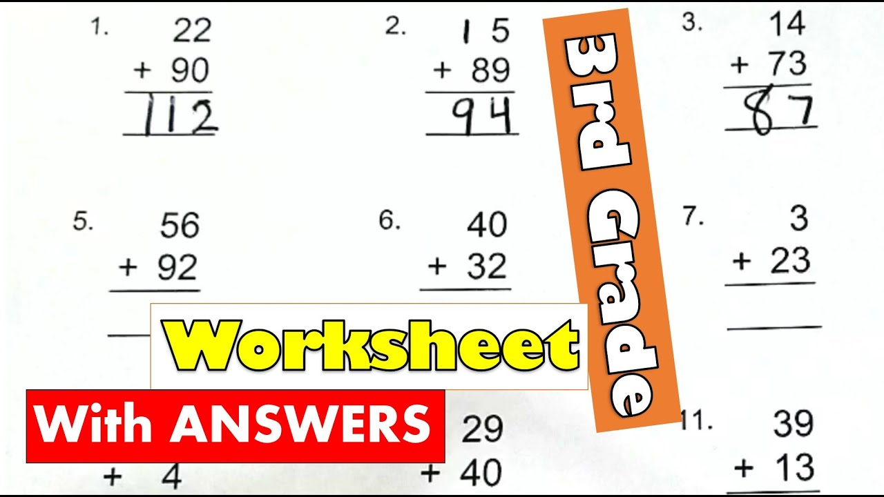 3rd Grade Math - Adding 2-digit Numbers Regrouping Worksheet With Answers    Learning Video For Kids - YouTube [ 720 x 1280 Pixel ]