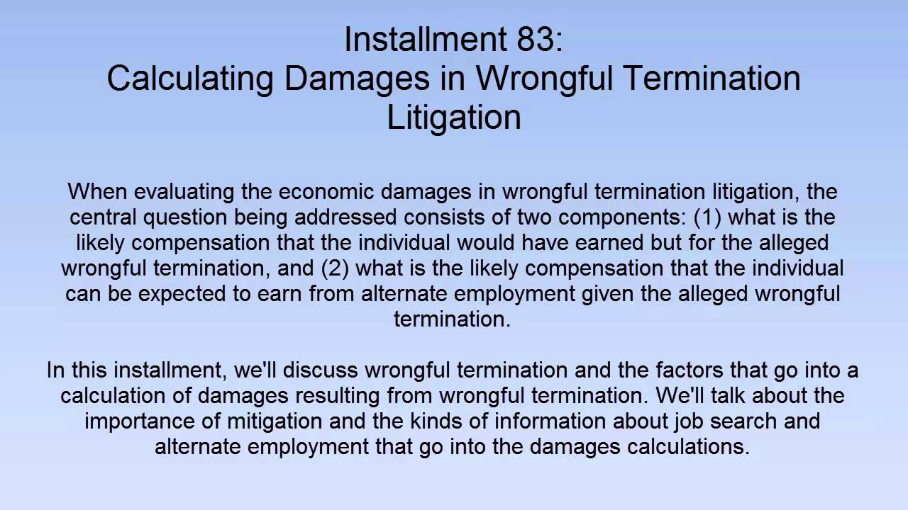 Calculation of compensation for dismissal