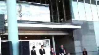 伝国の杜で天地人イベントで直江兼続役の妻夫木聡と上杉景勝役の北村一...