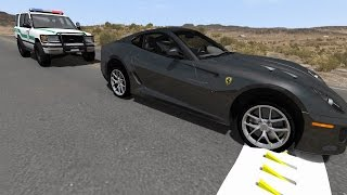 Police Chase Spike Strip Takedowns 2 with Sirens - High Speed Crash Compilation - BeamNG.Drive