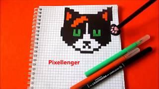Большой Кот Куки Часть 1 Как рисовать по клеточкам в тетради How to Draw Cat Pixel Art
