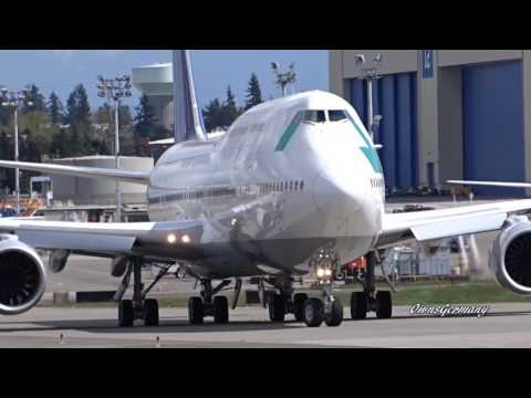 Battered Boeing 747-8i Test Flight Departure From Paine Field @ KPAE