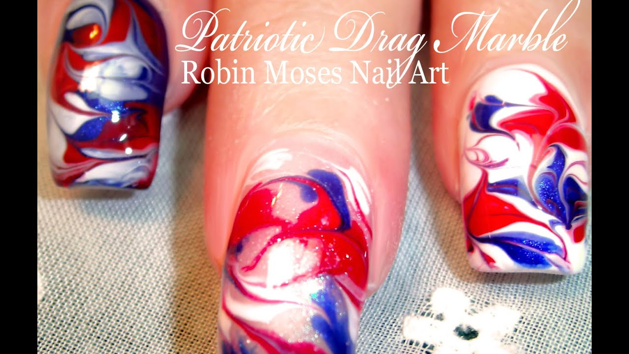 No Water Needed 4th Of July Marble Nail Art Tutorial Youtube