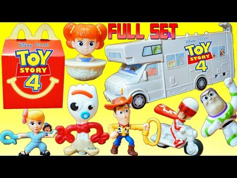 Mcdonalds Happy Meal Toy Story 4 Toys Full Set Duke Caboom Forky Gabby Buzz Toys Build RV