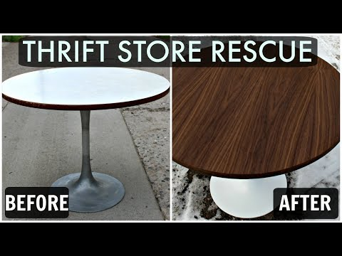 Thrift Store Rescue #5 / Applying New Wood Veneer To a Mid Century Table