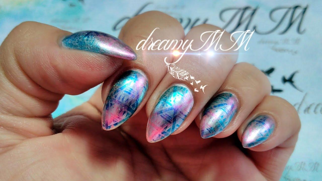Mirror tribal sharpie stamping nail art youtube prinsesfo Choice Image