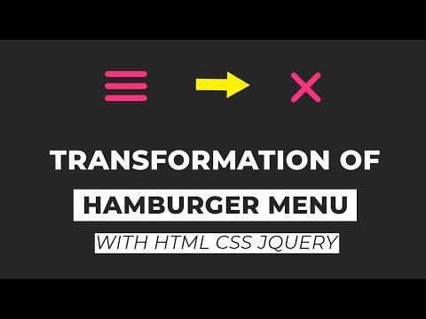 Transforming Hamburger Menu with html css and jquery