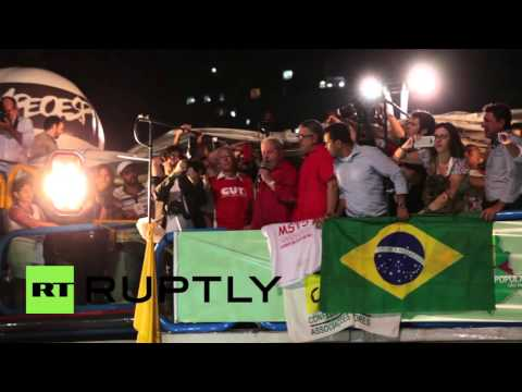 Brazil: Lula speaks to Sao Paulo supporters at 95,000-strong pro-govt. rally