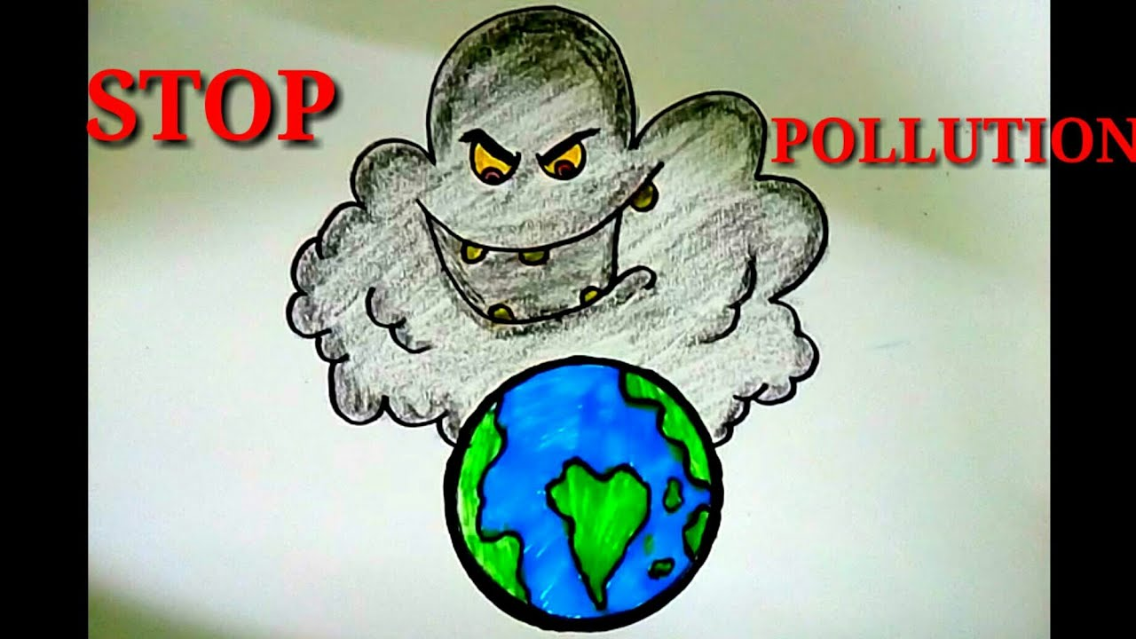 How to draw stop pollution colour poster drawing for kids