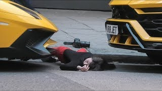 Did she really faint in front of two Yellow Lamborghini