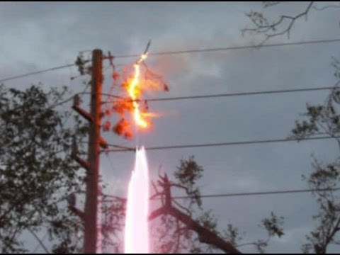 Hurricane Ike Aftermath High Voltage Power Line Sparks