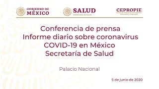 Informe diario sobre coronavirus COVID-19 en México. Secretaría de Salud. Viernes 5 de junio, 2020.