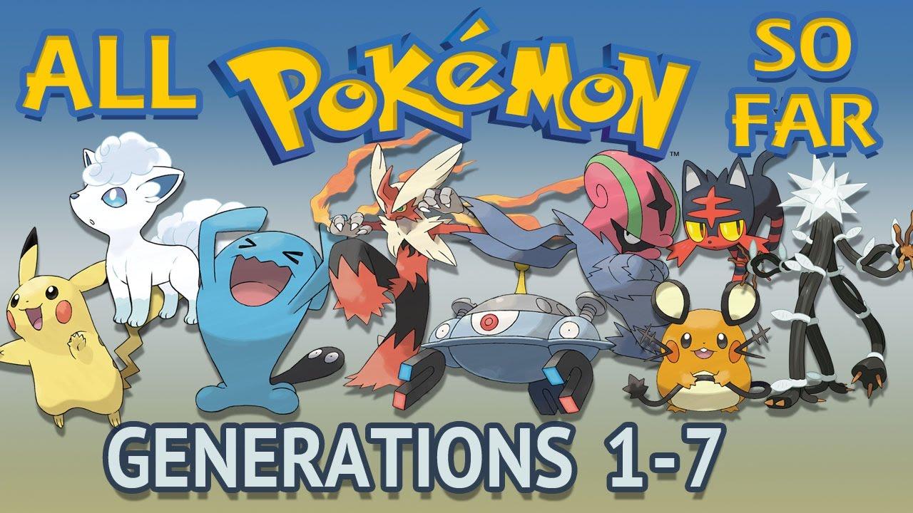 all pokémon all generations 1 7 youtube