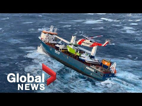Dutch cargo ship adrift in Norwegian sea after dramatic rescue