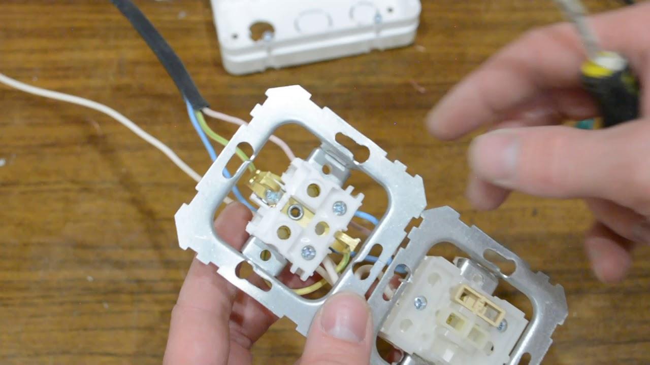 подключение общего блока розетка-выключатель