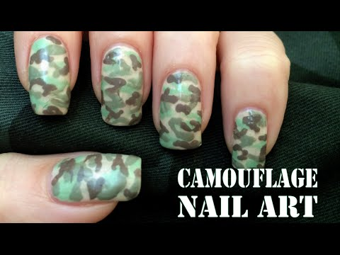 Camouflage Nail Art Tutorial - Camouflage Nail Art Tutorial - YouTube