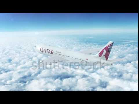 Aerial in-flight view of Qatar Airways Boeing 777 on the world's longest commercial flight