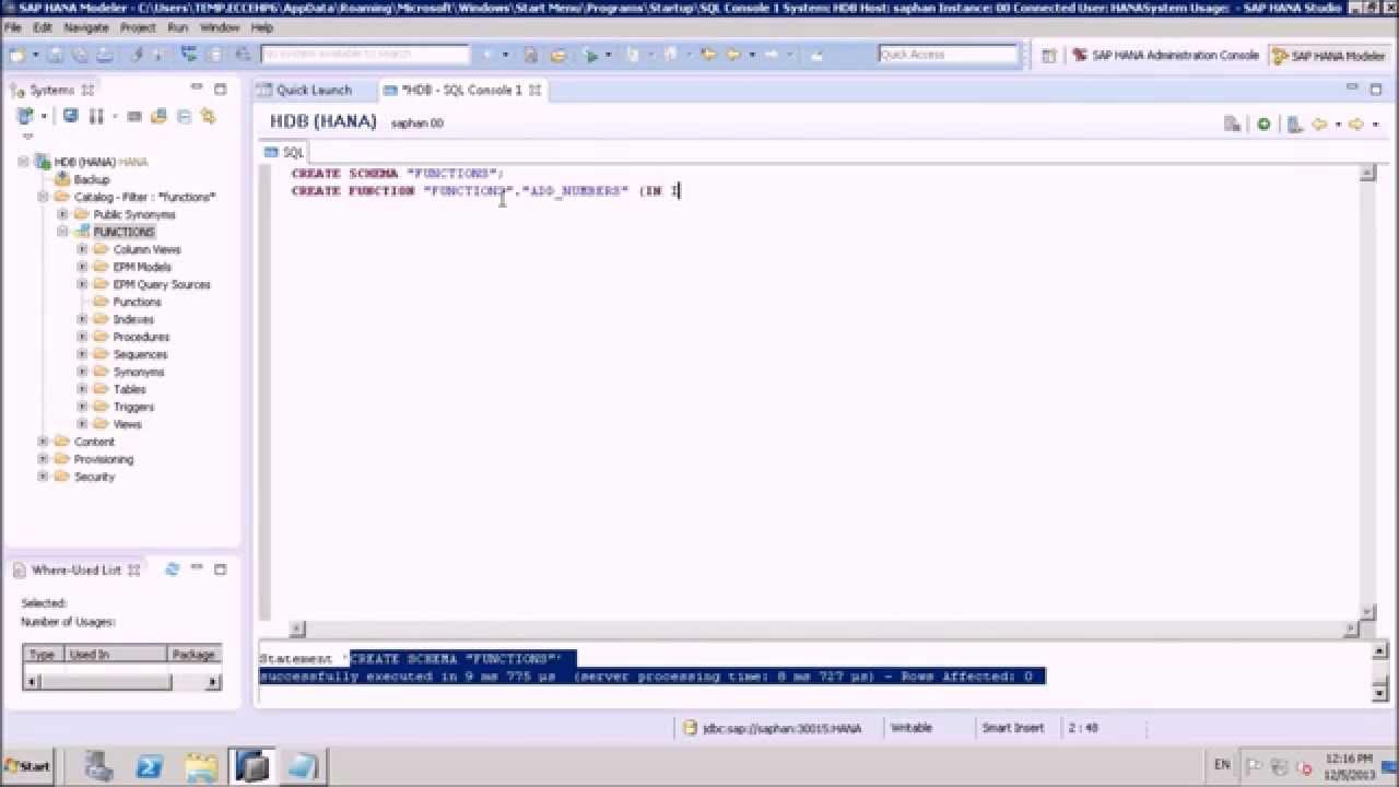 SAP HANA Functions using SQL Script