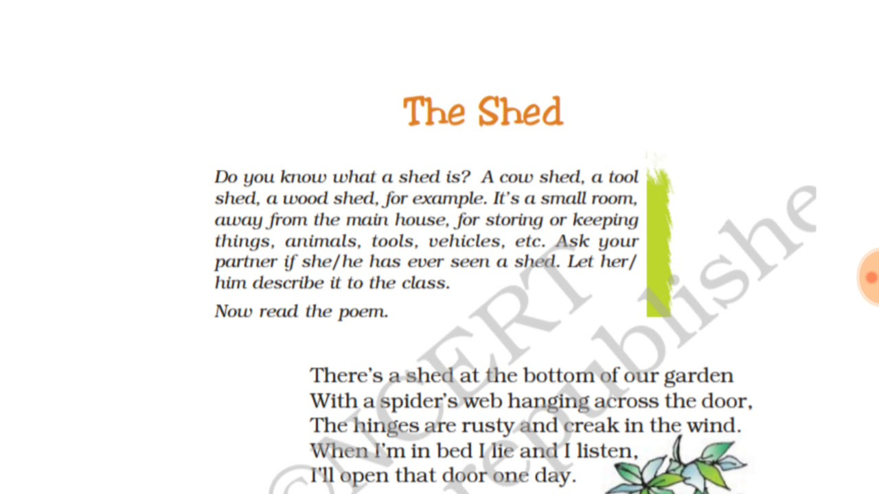 The Shed Poem With Question Answers Class 7th Ncert English