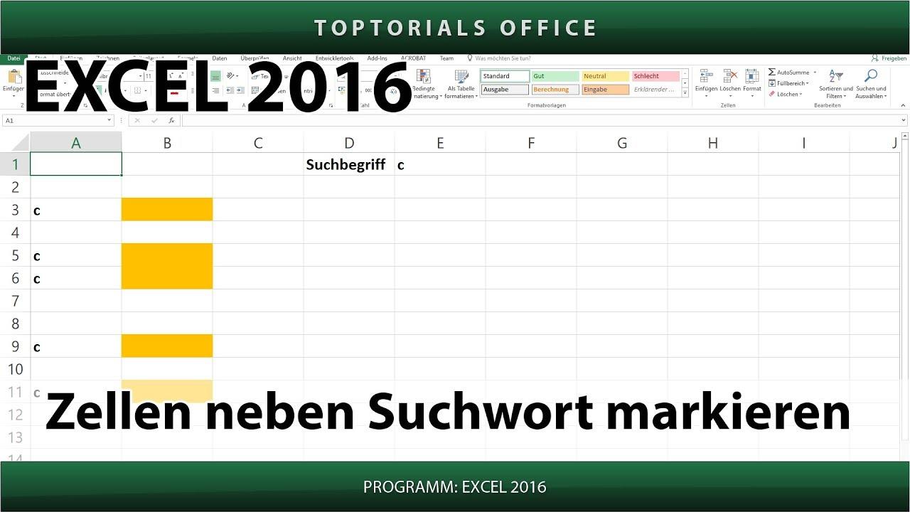 Zellen neben einem Suchwort markieren (Excel) - YouTube