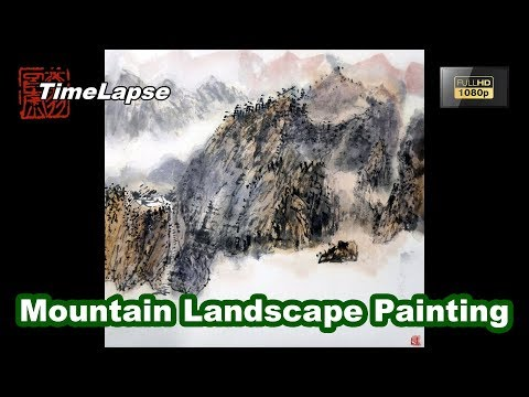Mountain Landscape Painting with Watercolor – Traditional Chinese Art – TIMELAPSE