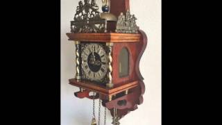 Vintage Warmink Dutch 8 Day Nut Wood Weight Driven Zaanse Wall Clock