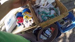 Shopping in the fleamarket buying some vintage costume jewelry for eBay Good walk for antique jewels