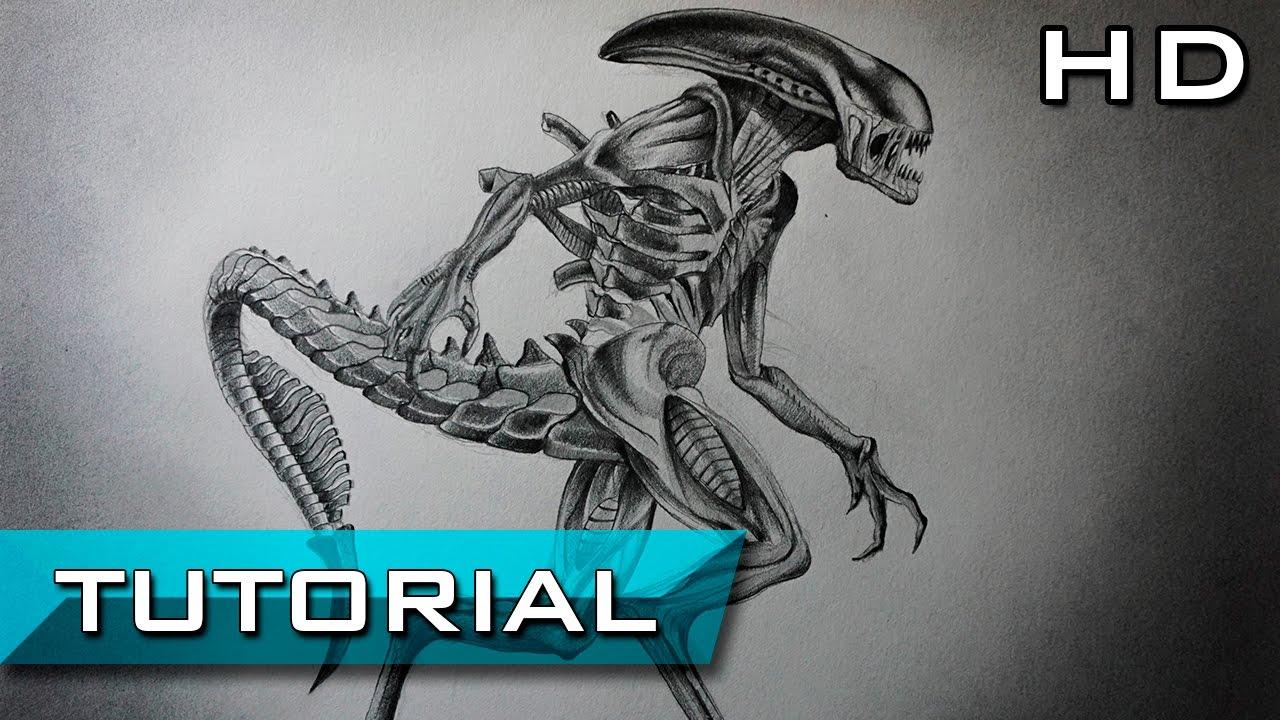 Cómo Dibujar a Xenomorph de Alien Covenant a Lápiz Paso a Paso ...