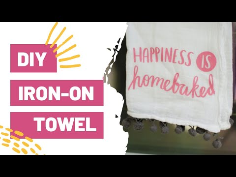 DIY IRON-ON TOWEL - EASY KITCHEN DECOR WITH YOUR CRICUT!