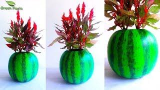 Watermelon Flower Pot-Watermelon Cement Tree Pot-Cement Planter at Home-Planter Ideas//GREEN PLANTS