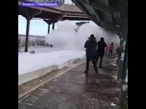 Thumbnail: Amtrak train plowed into snow (people)
