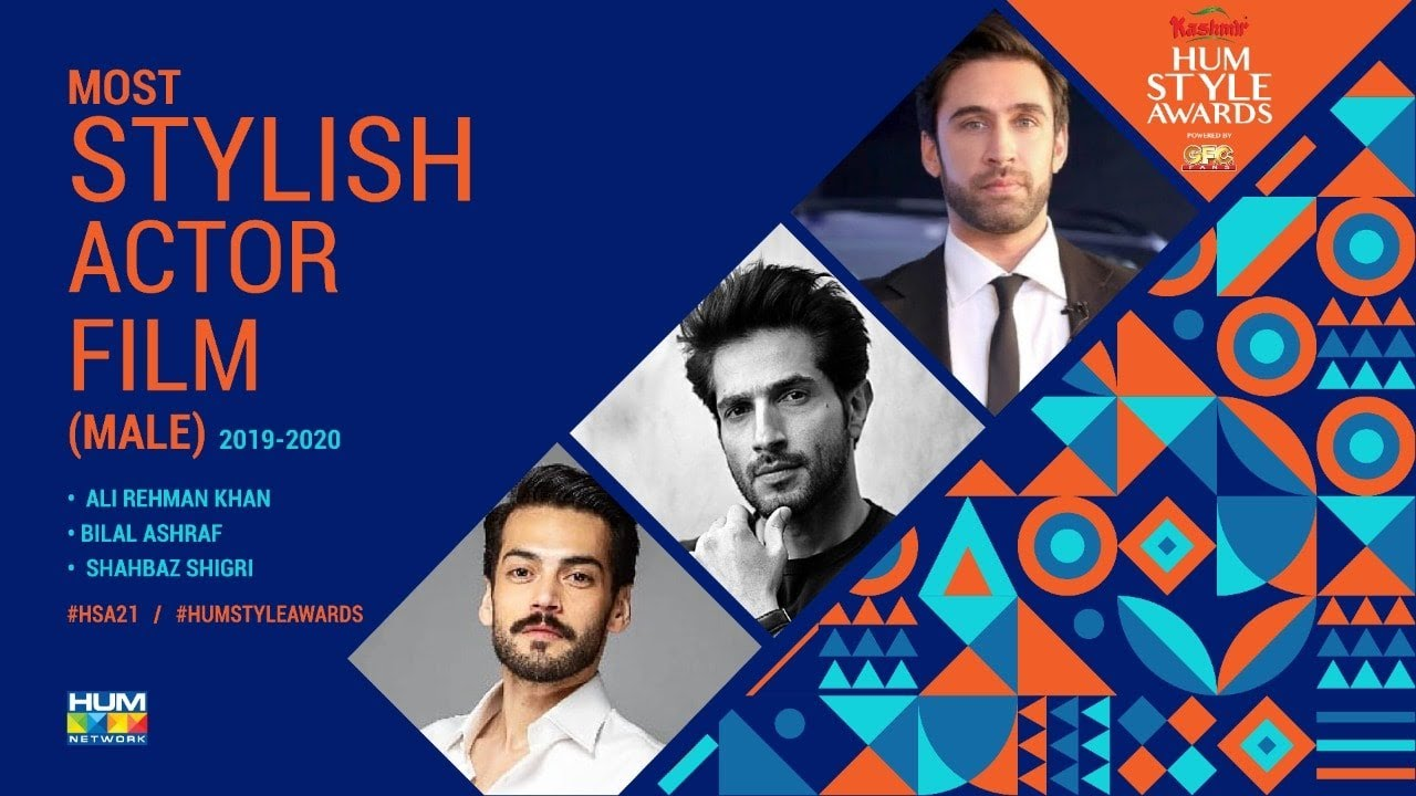 Nominations   Most Stylish Actor Film Male   5th Kashmir HUM Style Awards 2021  Powered By GFC Fans