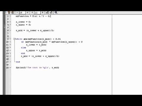 MATLAB Tutorial Part 6 Bisection Method Root finding