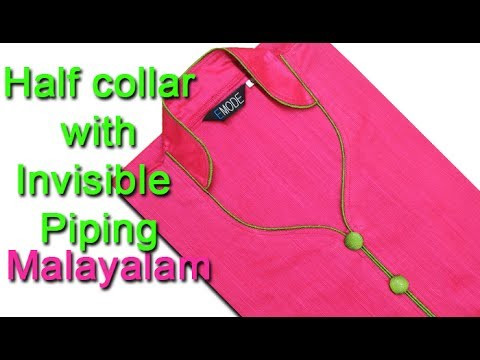 Half collar kurti with invisible piping DIY tutorial മലയാളം,