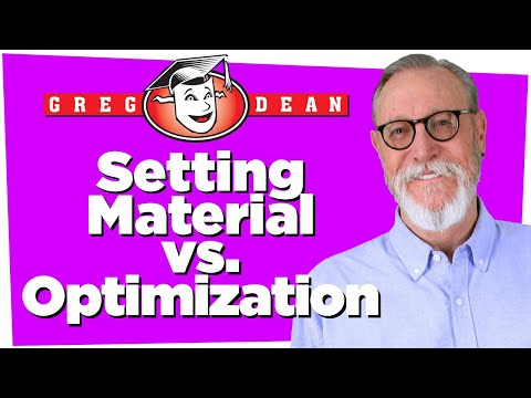 Setting Material Vs. Optimization - Stand Up Comedy Principles - Greg Dean