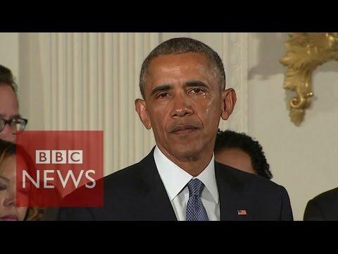 President Obama tears up during gun control speech - BBC News