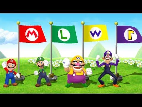 Mario Party 9 Minigames - Mario Vs Luigi Vs Wario Vs Walugi (Master CPU)