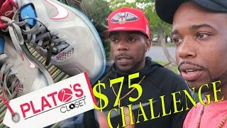 $75 Shopping Challenge At Platos Closet Outlet! With Friend! Jordans, Nike! The BEST YET!