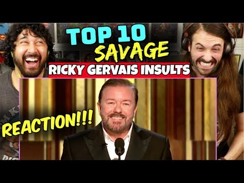 TOP 10 Savage RICKY GERVAIS INSULTS - REACTION!!!