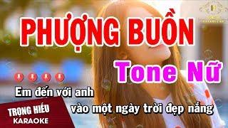 Karaoke Phượng Buồn Tone Nữ Nhạc Sống | Trọng Hiếu