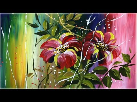 Abstract Flowers Painting on canvas Acrylic Easy Techniques